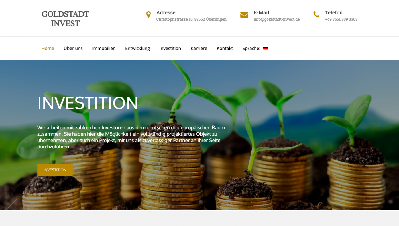 Responsive & Multi Sprachige Website - Goldstadt Invest