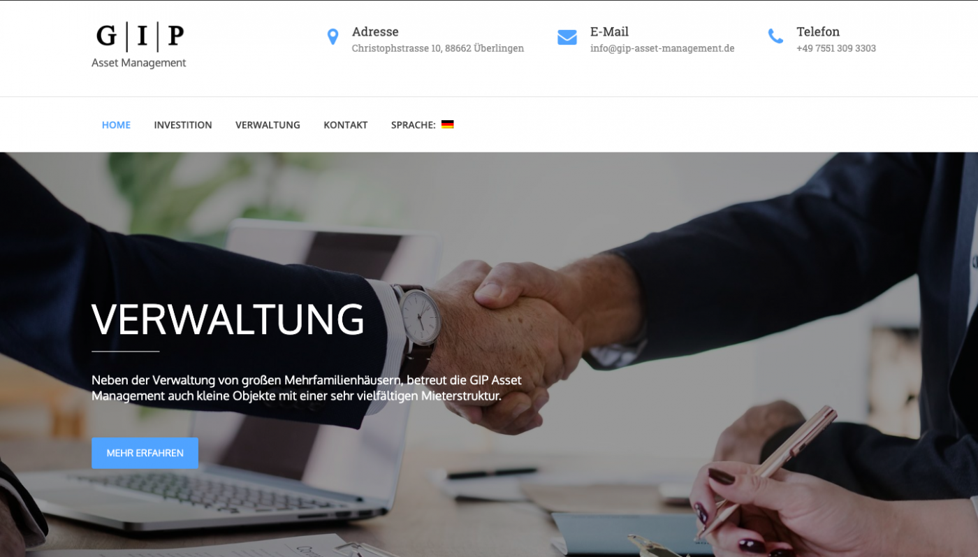 Responsive & Multi Sprachige Website - Asset Management